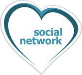 Social concept, social network word on love heart — Stock Photo