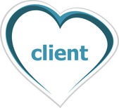 Marketing concept, client word on love heart — Stock Photo