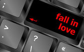 Modern keyboard key with words fall in love — Foto de Stock