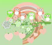 Owls birds and love heart tree branch — Stock Photo