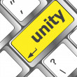 Stock Photo: Unity word on computer keyboard pc key