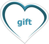 Holiday concept, gift word on love heart — Stock Photo