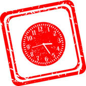 Alarm clock sign icon. Wake up alarm symbol. red stamp — Stock Photo