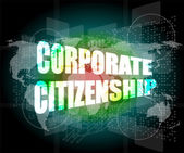 Corporate citizenship words on digital screen with world map — Stockfoto