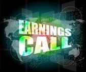 Earnings call words on touch screen interface — 图库照片
