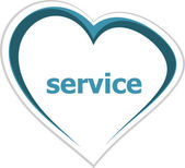 Marketing concept, service word on love heart — Stock Photo