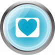 Valentines day technology icon (button) with heart — Stock Photo