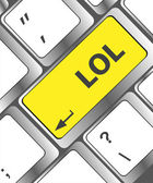 Keys saying lol on black keyboard — Stock Photo