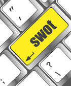 SWOT word on computer keyboard key button — Stok fotoğraf
