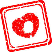 People head in red hearts, red web icon stamp — Foto Stock