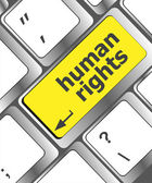Arrow button with human rights word — 图库照片