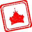 Home sign icon. castle button. Remote control. Red stamp — Stock Photo