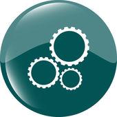 Versnellingen pictogram (knop) geïsoleerd op een witte achtergrond — Stockfoto