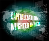 Capitalization weighted index words on touch screen interface — Stock Photo