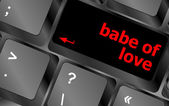 Babe of love on key or keyboard showing internet dating concept — Stok fotoğraf