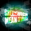 Greenwich mean time word on digital touch screen — Stock Photo