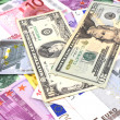 Background of american and euro money — Stock Photo