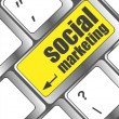 Social marketing or internet marketing concepts, with message on enter key of keyboard — ストック写真
