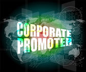 Corporate promoter words on digital screen with world map — Stock Photo