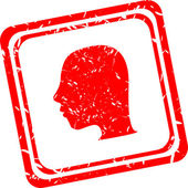 SIlhouette of a head isolated, red stamp — Stock Photo