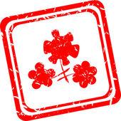 Flower symbol on red grunge web stamp — Stock Photo