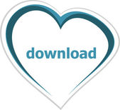 Internet concept, download word on love heart — Stock Photo