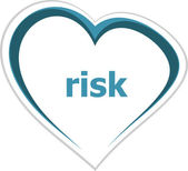 Business concept, risk word on love heart — Stock Photo