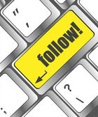 Social media or social network concept: Keyboard with follow button — Stock Photo