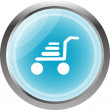 Shopping cart icon on internet button isolated on white — Stock Photo