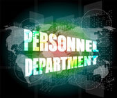 Personnel department words on digital screen with world map — Foto Stock
