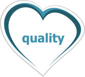 Marketing concept, quality word on love heart — Stock Photo