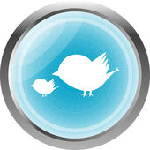 Glossy isolated website and internet web icon with bird family sign — Stock Photo