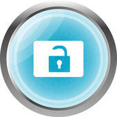 Open padlock icon web sign isolated on white — Stock Photo