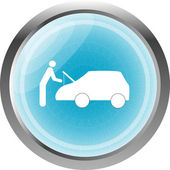 Man and car on web icon (button) isolated on white — Stock Photo