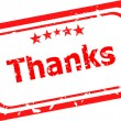 Stylized red stamp showing the term thanks. All on white background — Stock Photo