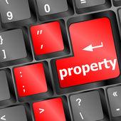 Property message on keyboard enter key — Stock Photo