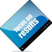 Video media player for web with focus on results words — Stock Photo
