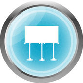 Glossy icon button with billboard isolated on white — Stock Photo