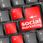 Online marketing or internet marketing concepts, with message on enter key of keyboard. — Stock Photo