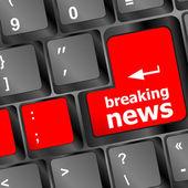 Breaking news button on computer keyboard pc key — Stock Photo