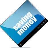Video player for web with saving money word — Photo