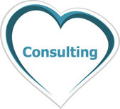 Marketing concept, consulting word on love heart — Stock Photo