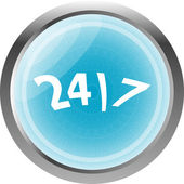 24 hour button web icon isolated on white — Stock Photo