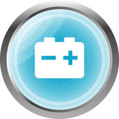Batteri web blanka ikonen knapp isolerad på vit — Stockfoto
