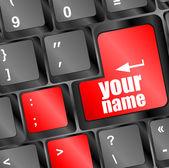 Seu botão de nome em close-up chave teclado — Foto Stock