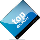 Social media concept: media player interface with top discount word — Stock Photo