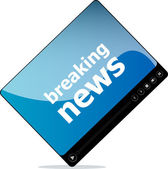 Social media concept: media player interface with breaking news word — Stock Photo