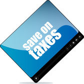 Video player for web with save on taxes word — Stock Photo