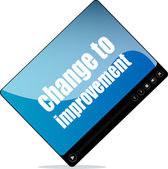 Video player for web with change to improvement words — Stock Photo