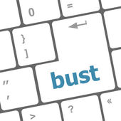 Bust word icon on laptop keyboard keys — Stock Photo